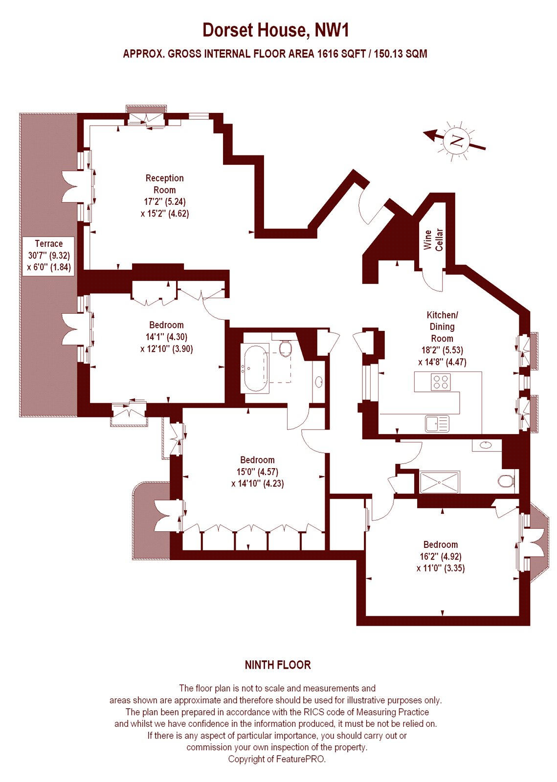 3 bedroom dorset house gloucester place marylebone nw1 for Apartment floor plans london