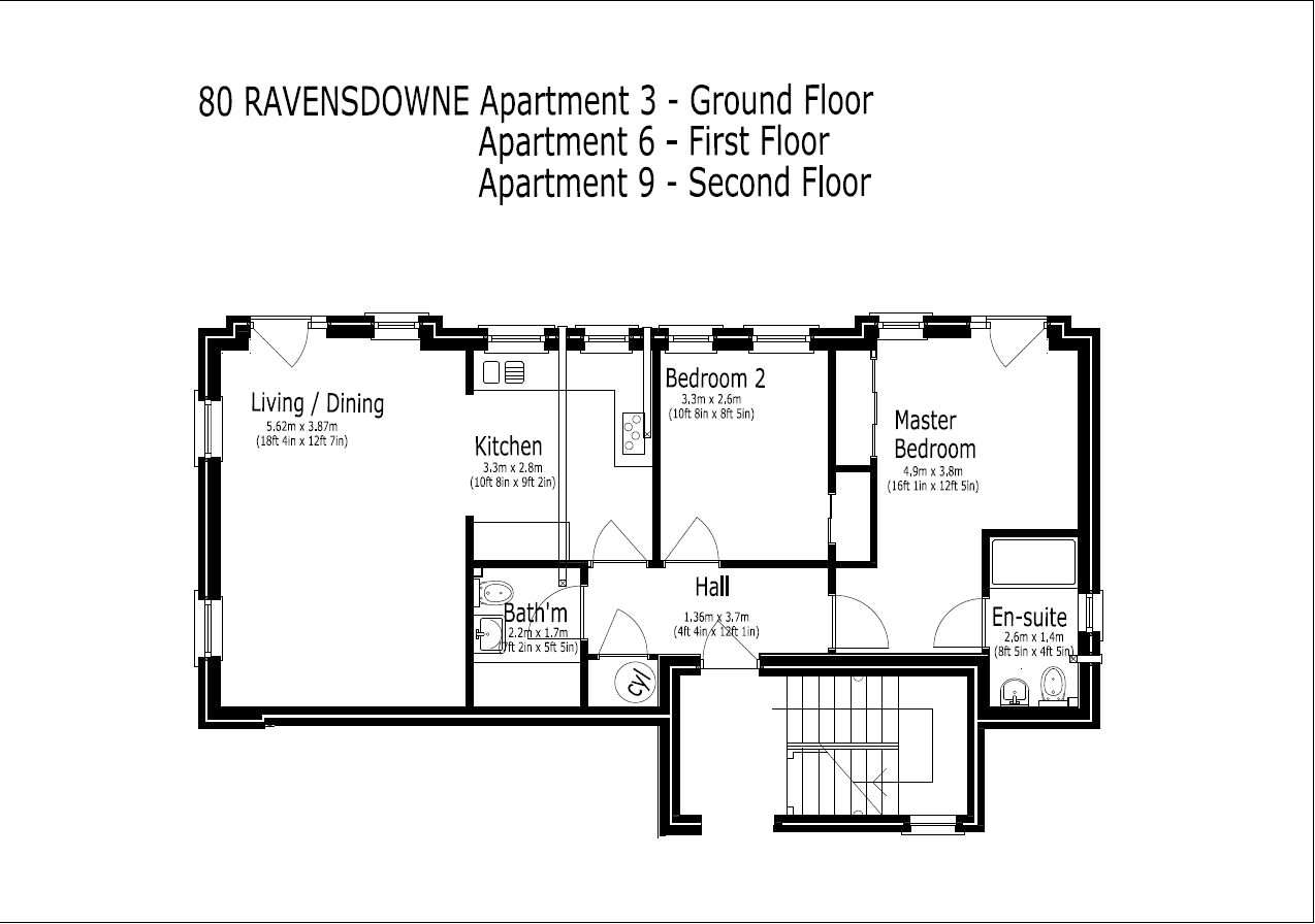 Floorplans for Apartment 3, 80 Ravensdowne, Berwick-upon-Tweed, TD15