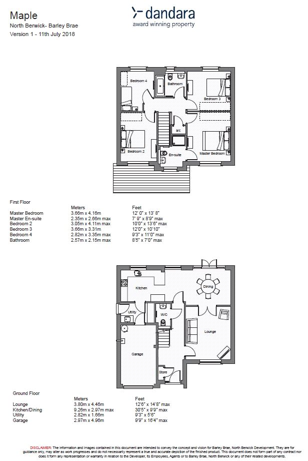 Floorplans for Plot 17, The Maple, Barley Brae, Tantallon Road, North Berwick, EH39