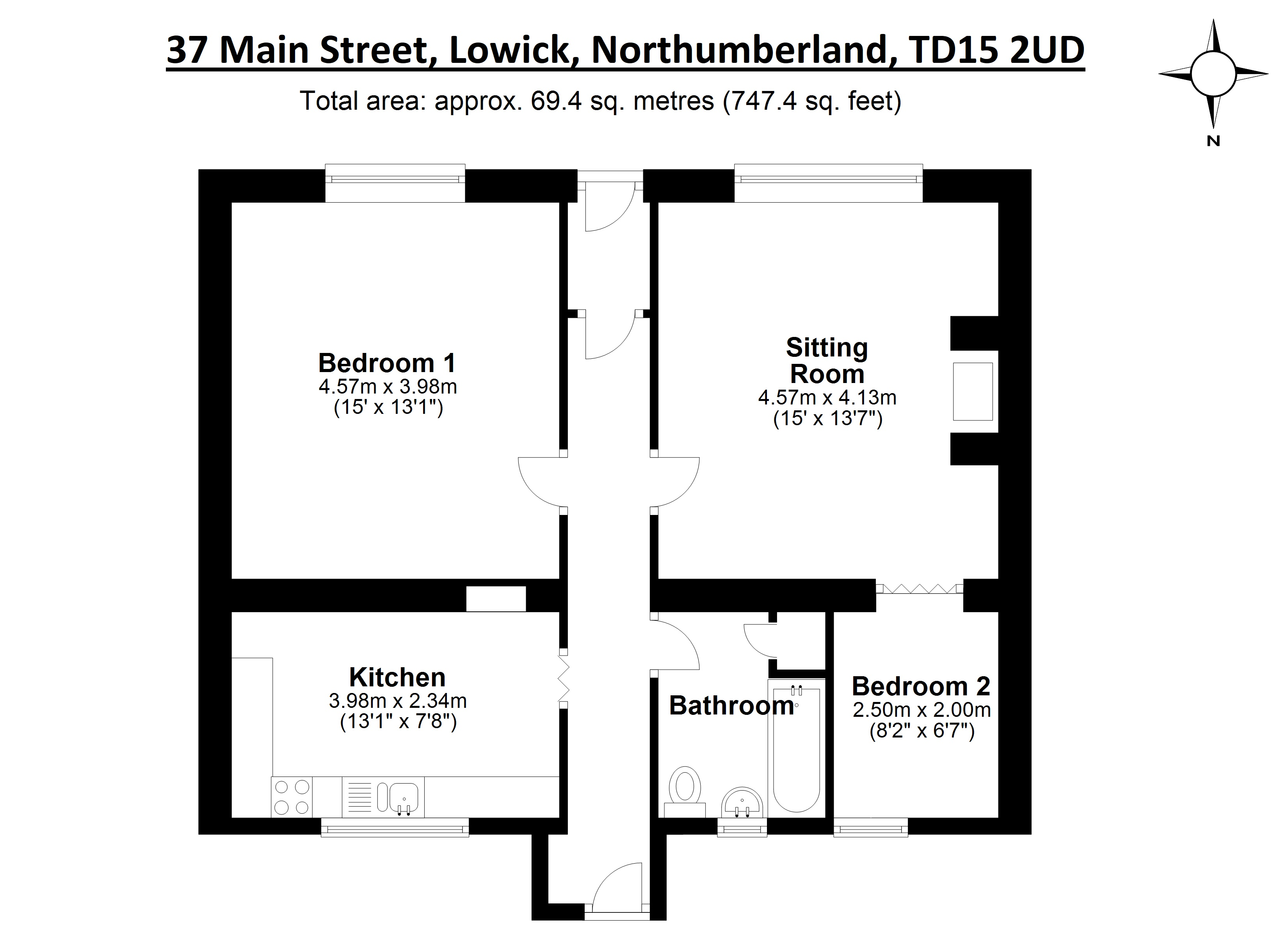 Floorplans for Main Street, Lowick, Northumberland, TD15