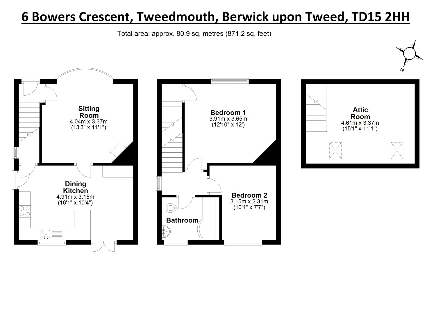 Floorplans for Bower's Crescent, Berwick-upon-Tweed, Northumberland, TD15