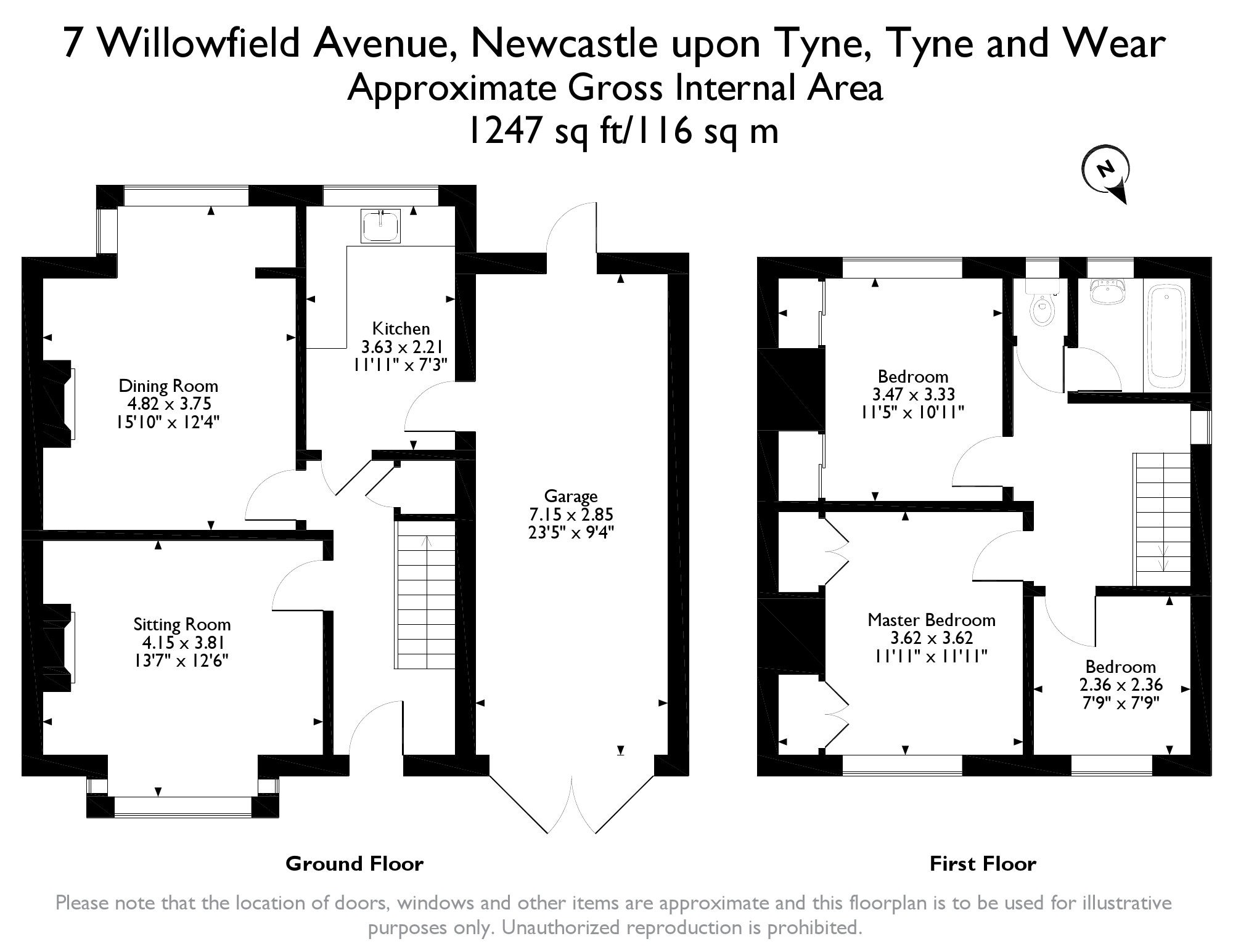 Floorplans for Willowfield Avenue, Fawdon, Newcastle Upon Tyne, NE3