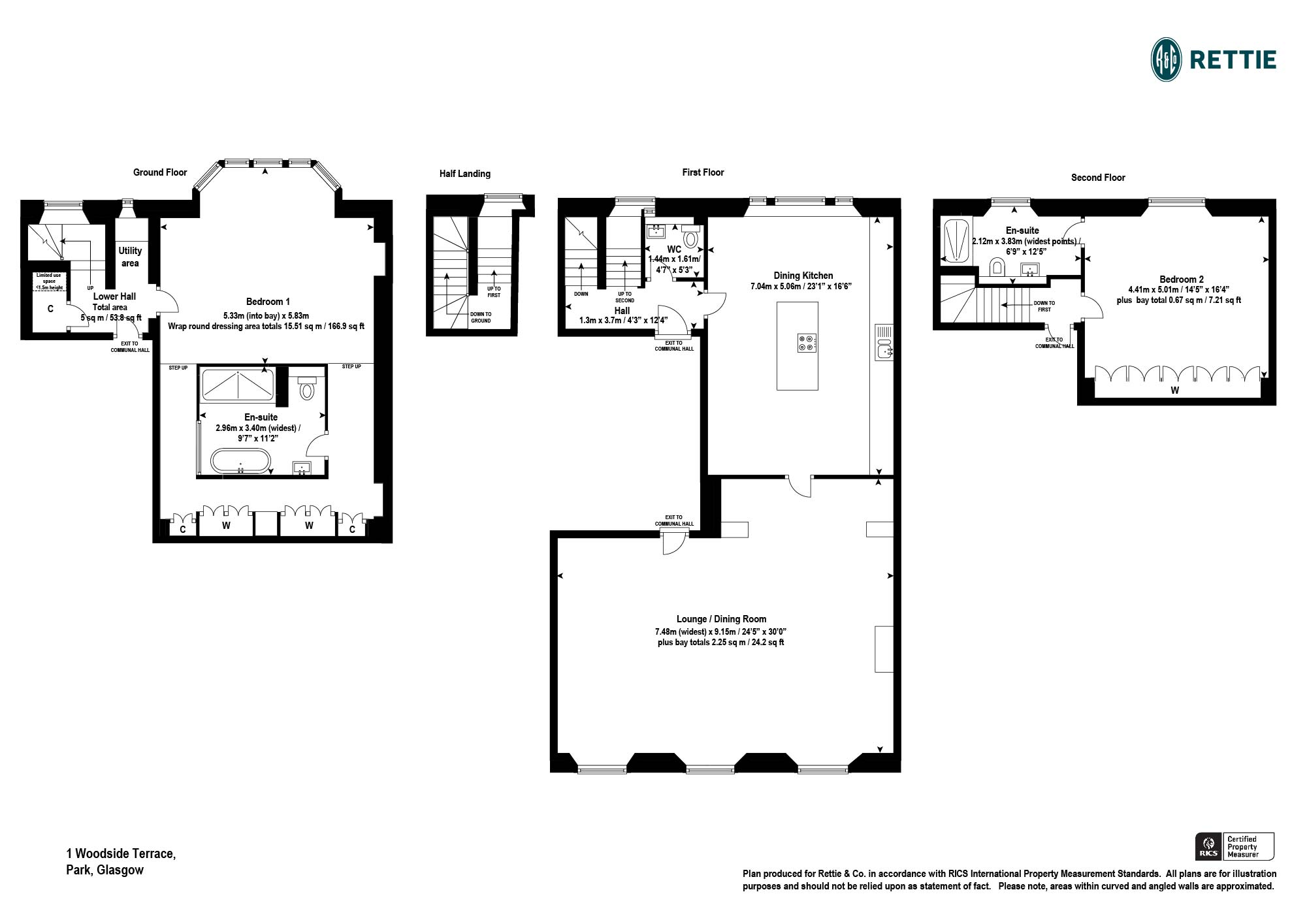 Floorplans for Woodside Terrace, Park, Glasgow, G3