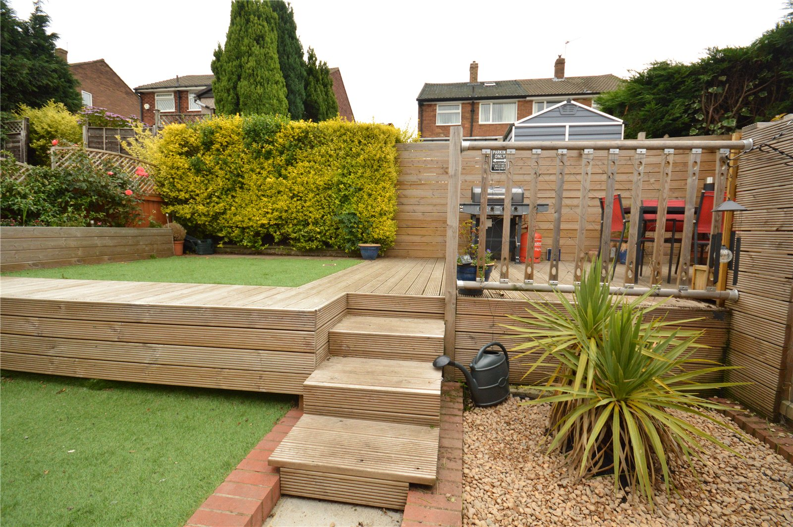 property for sale in Horsforth, outdoor landscaped garden with bbq area