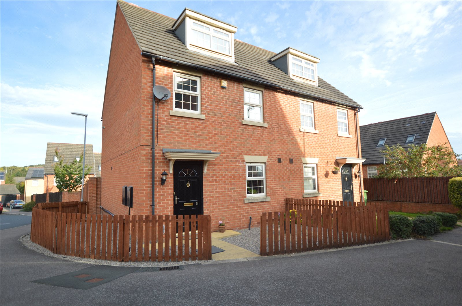 property for sale in Pudsey, exterior semi detached red brick home