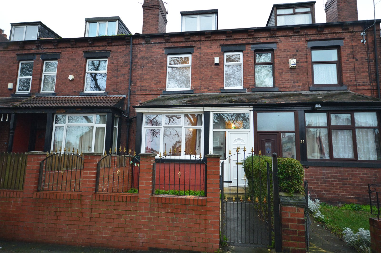 property for sale in Beeston, exterior red brick terraced home