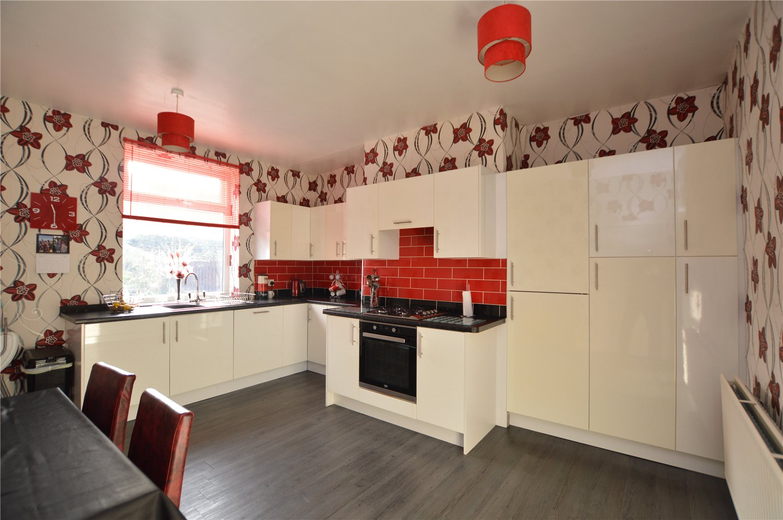 property for sale in Batley, interior kitchen with modern cabinets and decor