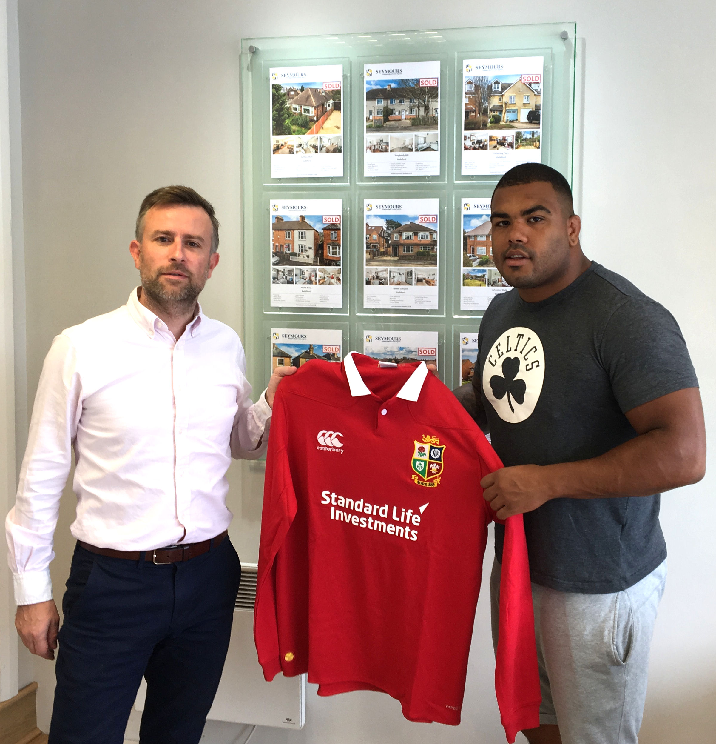 Kyle Sinckler has presented Seymours with a signed 2017 Rugby Lions Shirt.